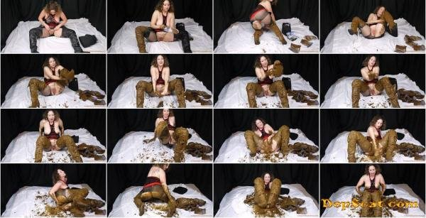 Scat Sexy Thigh High Leather Boots ScatGoddess - Solo Scat, Masturbation, Dirty Anal [SD/986 MB]