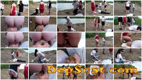 Milana Smelly - Scat-party on the beach Liza, Yana, Christina, Megan - Eat shit, Outdoor [HD 720p/643 MB]