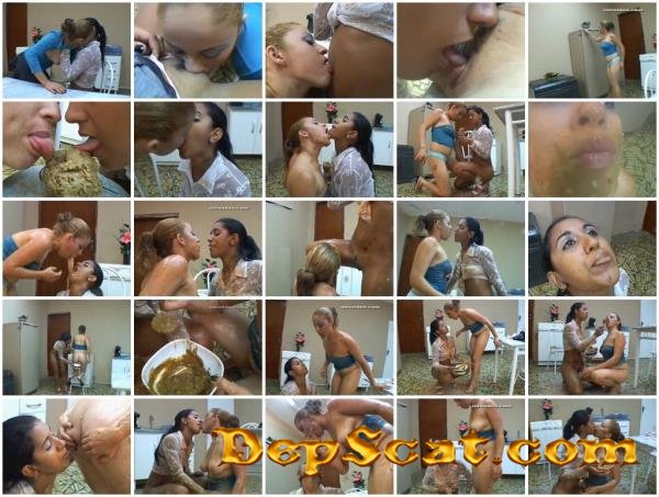 Hungry Bitches - 2 Girls 1 Cup Karla and Latifa - Scat, Vomit, Lesbians [SD/699 MB]