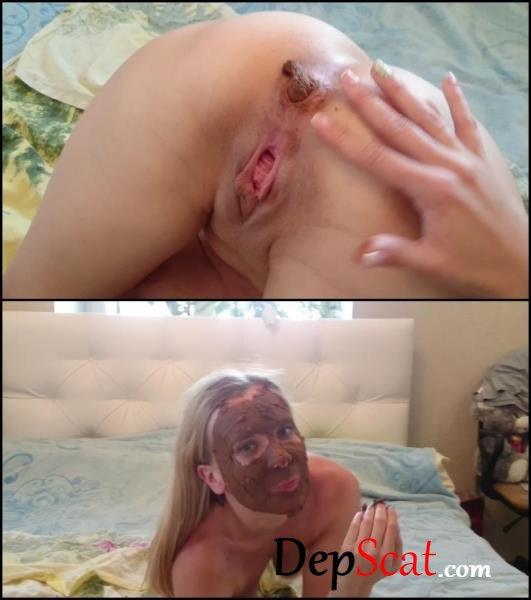 Brown wife shit on yourself and smear face feces. - Amateur scat, Brown Wife [FullHD 1080p/802 MB]