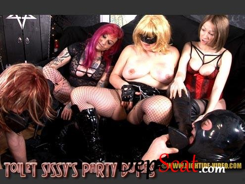 TOILET SISSY'S PARTY DUTIES Miss Kelly, Miss Pia, Miss Naomi, 2 Sissy Slaves - Femdom, Group, Humiliation [HD 720p/1.10 GB]