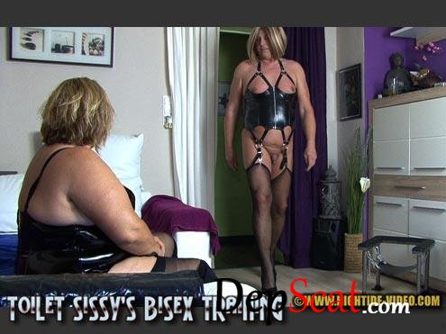 TOILET SISSY'S BISEX TRAINING Sunny, Mistress, 2 Sissy Subs - Domination, Latex, Femdom [HD 720p/591 MB]