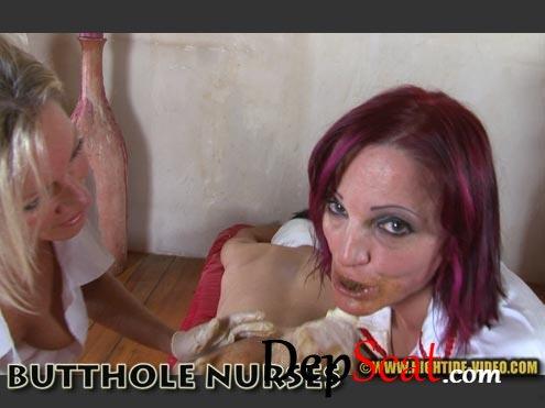 KIRA & MOLLY - BUTTHOLE NURSES Kira, Molly, 2 males - Humiliation, Blowjob, Eating [HD 720p/687 MB]