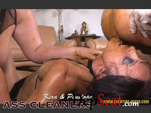 ASS CLEANERS Kira, Penelope, 2 males - Group, Sex Scat [HD 720p/1.10 GB]