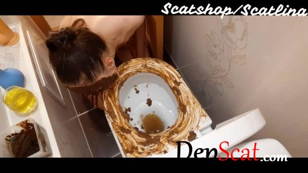 Dirty toilet (part 1) ScatLina - Solo, Amateur [FullHD 1080p/1.28 GB]